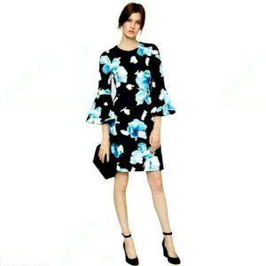 Maggy London Blue Floral Bell Sleeve Sheath Dress